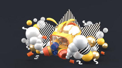 Gas masks surrounded by smoke and colorful balls on a gray background.-3d rendering.
