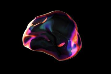 Realistic soap bubble. Rainbow reflection bubble illustration on black backgr