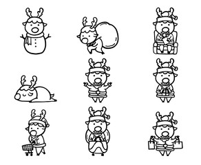 Set of christmas icon vector on white background.Reindeer santa black line by hand drawing.