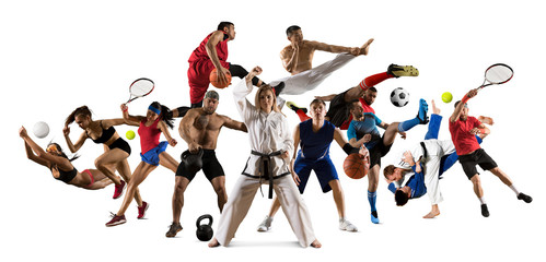 Sports collage taekwondo, tennis, soccer, basketball, football, judo, etc