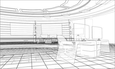 3D outline interior. 3d illustration