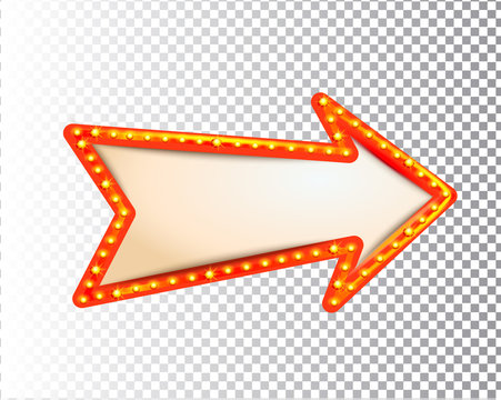Shining isolated retro bulb light frame arrow on transparent background. Vintage style banner, sign, signboard. Perfect template for shows, casino, cinema, circus. Vector illustration EPS 10