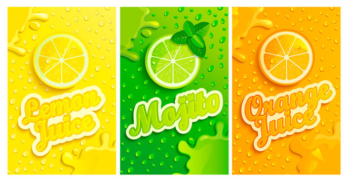 Set of fresh lemon,mojito,orange juices backgrounds with drops from condensation, splashing and fruit slices for brand,logo and template,label,emblems,stores,packaging,advertising.Vector illustration