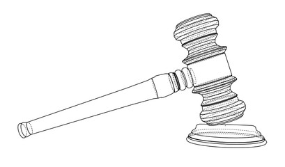 3D outline gavel. 3d illustration