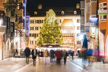 Christmas market and tree in Innsbruck at night