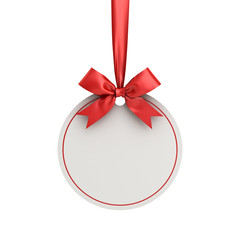 Blank white paper round christmas ball frame tag label card template hanging with shiny red ribbon and bow isolated on white background for christmas decoration 3D rendering