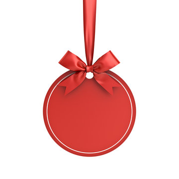 Blank red paper round christmas ball frame tag label card template hanging with shiny red ribbon and bow isolated on white background for christmas decoration 3D rendering