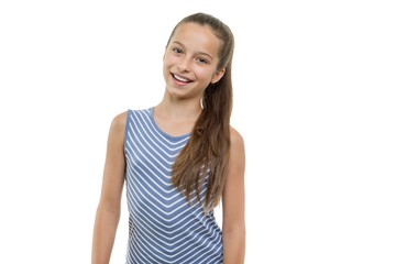 Portrait of happy beautiful young smiling girl. Child with perfect white smile, isolated on white background