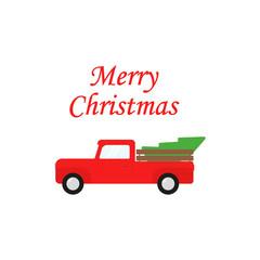 Christmas truck. Vintage vector illustration Christmas red truck with a Christmas tree. Flat design