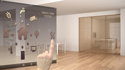 Smart home control concept, hand controlling digital interface from mobile app. Background showing minimalist white and wooden living room, architecture interior design