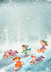 Winter playing outdoor. Watercolor background