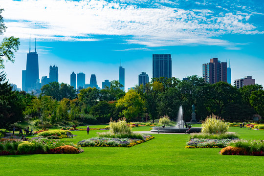 Summer Garden Scene in Lincoln Park Chicago with the Skyline