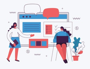 Vector illustration of the office concept business people in the flat style. E-commerce and content marketing business concept. - Vector