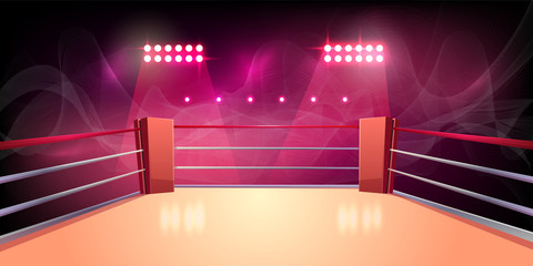 Vector background of boxing ring, illuminated sports area for fighting, dangerous sport. Empty arena with spotlights, shining lights, ropes. Place for wrestling, presentation of match, competition.