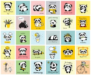 Big set of vector cards with cute pandas and funny quotes for kid's interiors, banners and posters. - Vector