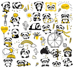 Panda doodle kid set. Simple design of cute pandas perfect for kid's card, banners, stickers and other kid's things. - Vector