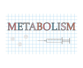 Metabolism word on checkered paper sheet- vector illustration