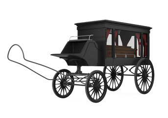 Horse Drawn Hearse Isolated
