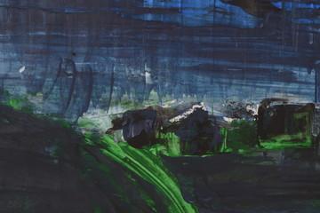Night Village Landscape Illustration