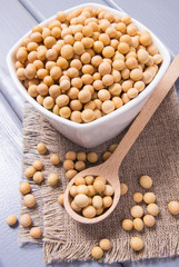 Soy in a bowl on a wooden background.
