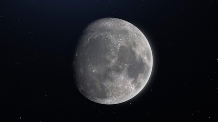 High Resolution The moon view. Earth's natural satellite from Space in a star field showing the terrain