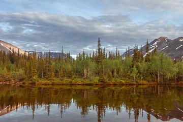 lake in the mountains, landscape, Khibiny mountains, Murmansk region in Russia, kola peninsula. summertime