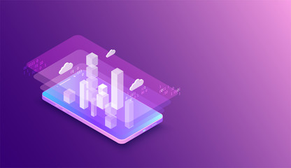 Isometric mobile phone. Вig data flow processing concept, cloud database. Abstract technology background. Vector illustration