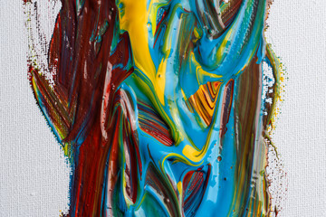 Abstract brush strokes of acrylic colors