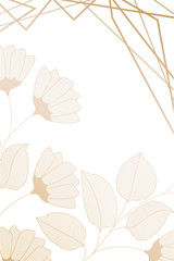 flowers with leaves and geometrical lines isolated icon