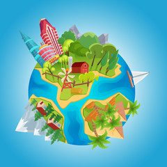 Cartoon cute planet concept. Planet globe with city buildings, farm windmills, mountains, ocean, houses and desert pyramids vector Illustration.