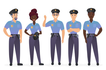 Group of police officers people. Man and woman security guards cops characters vector illustration.
