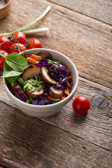 Stewed vegetables bowl  with cabbage, carrot and mushrooms