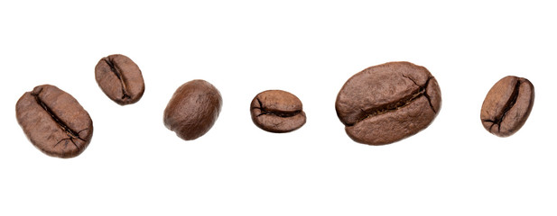 roasted coffee beans isolated in white background cutout. Line arrangement.
