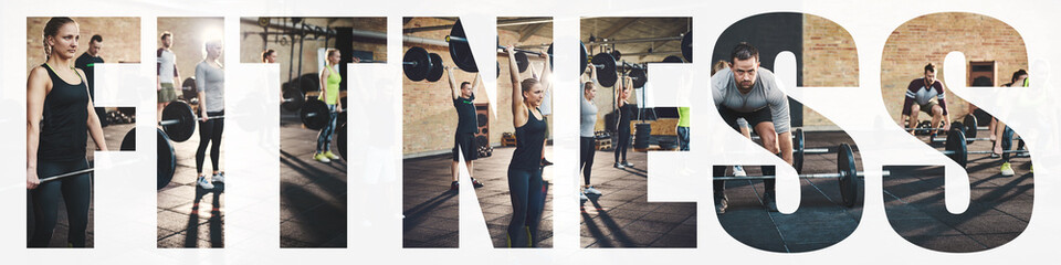 Fototapeten Fitness Collage of fit people lifting heavy weights in a gym