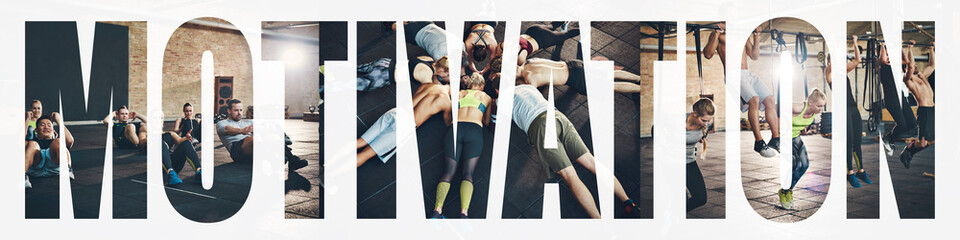 Collage of fit people working out at the gym