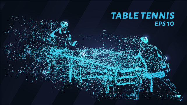 Table tennis of blue glowing dots. A game of table tennis made of particles. Vector illustration.