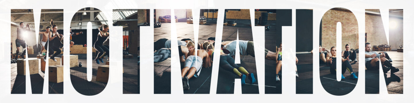Collage of fit young people do exercises in a gym
