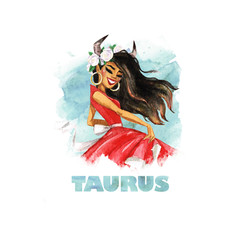 Zodiac sign - Taurus. Watercolor Illustration