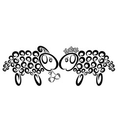 Funny sheep, boy gives a girl a heart-shaped cherry
