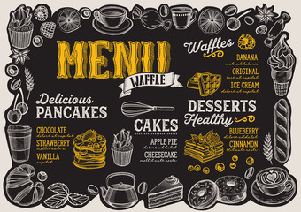 Waffle and pancake menu for restaurant with frame of hand-drawn fruits and sweets.