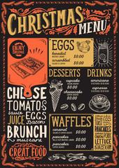 Christmas menu template for brunch on a blackboard.