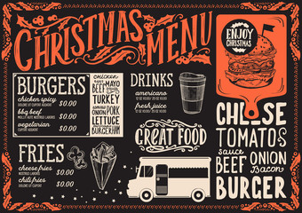 Christmas menu template for food truck.