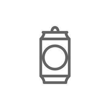 Simple beer can line icon. Symbol and sign illustration design. Isolated on white background