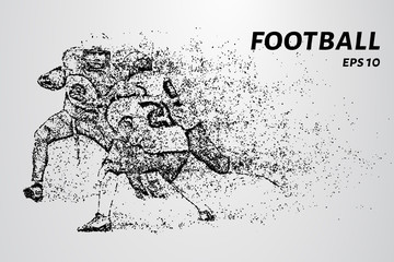 American football fight for the ball. American football consists of circles and dots. Vector illustration.