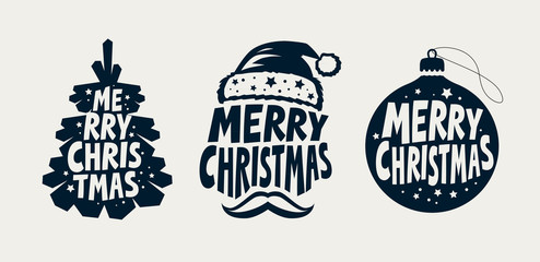 Merry Christmas, label set. Xmas, holiday symbol. Typographic design vector illustration