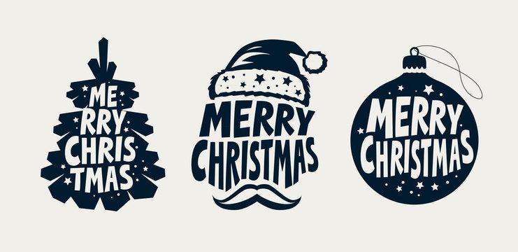 Merry Christmas, label set. Xmas, holiday symbol. Typographic design vector illustration