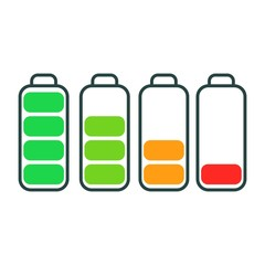 Illustration of battery level flat icon isolated on white background. Battery life, accumulator, battery running low vector.
