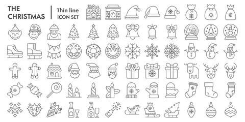 Christmas thin line icon set, celebration symbols collection, vector sketches, logo illustrations, winter signs linear pictograms package isolated on white background, eps 10.
