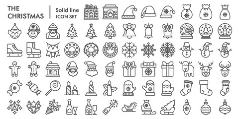 Christmas line icon set, celebration symbols collection, vector sketches, logo illustrations, winter signs linear pictograms package isolated on white background, eps 10.
