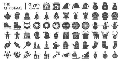 Christmas solid icon set, celebration symbols collection, vector sketches, logo illustrations, winter signs linear pictograms package isolated on white background, eps 10.